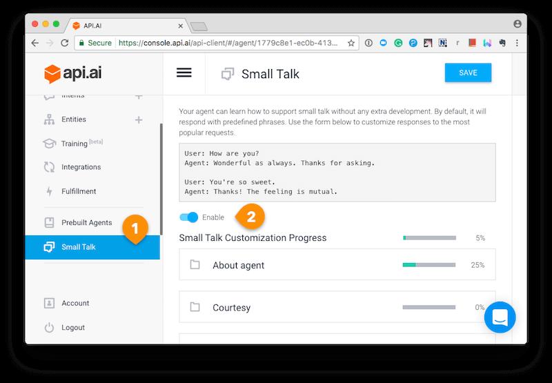API.AI Small Talk