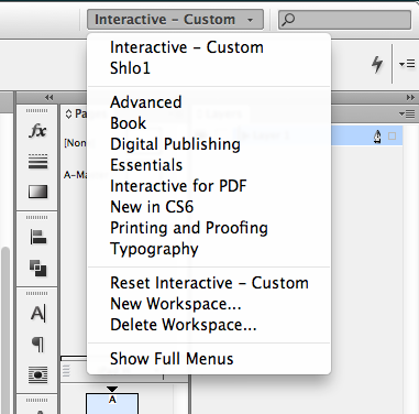 Switch between workspaces in InDesign.