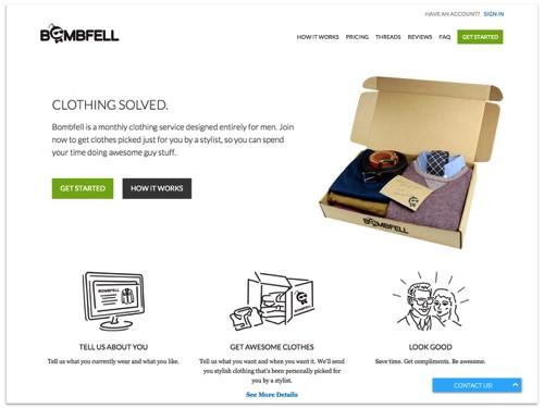 Bombfell landing page.