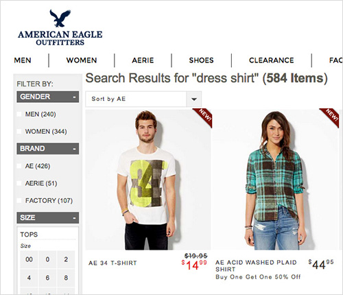 American Eagle Outfitter's search fail to understand Dress Shirt