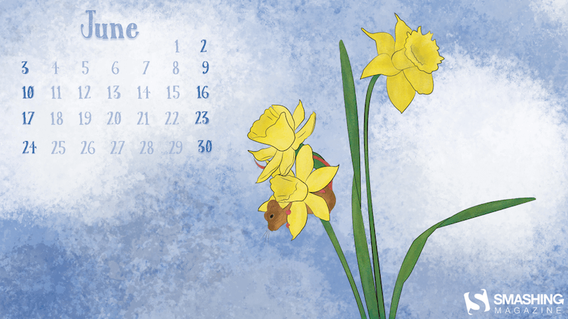 Field Mouse And Daffodils