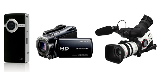 A selection of camcorders