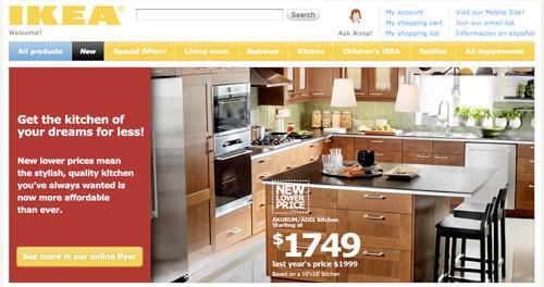 Ikea's non-mobile site