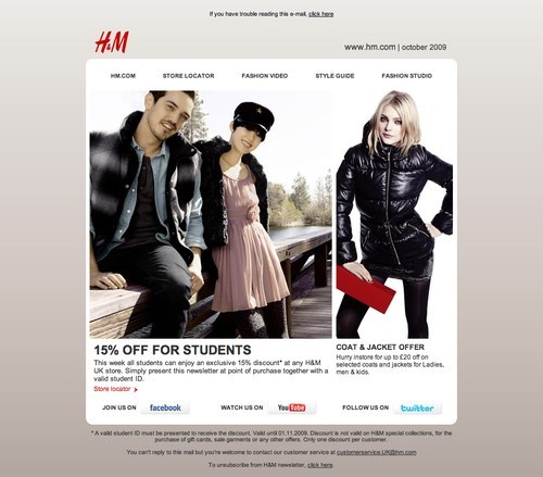 H and M newsletter with discounts