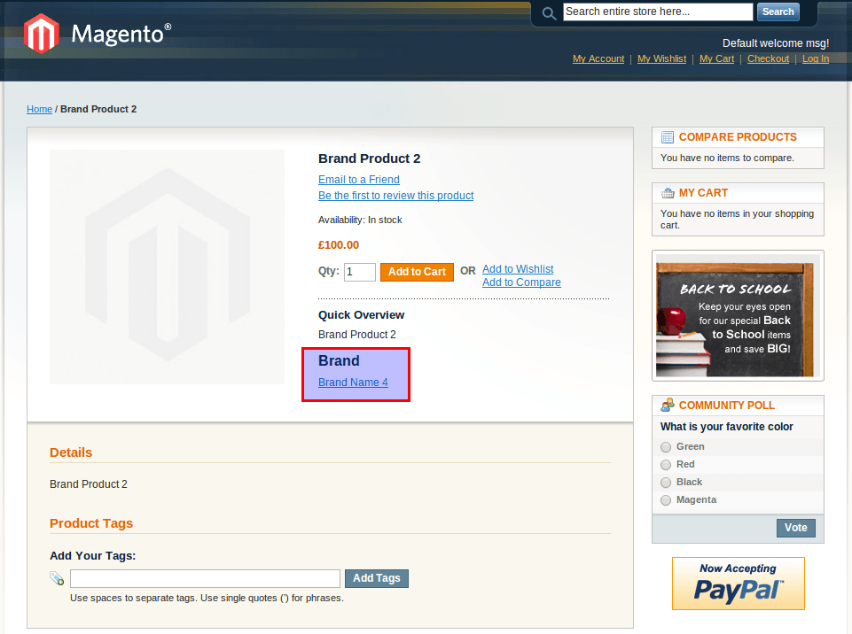 Magento Brand Product View
