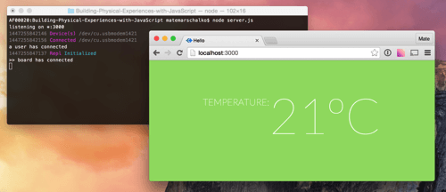Browser showing temperature data