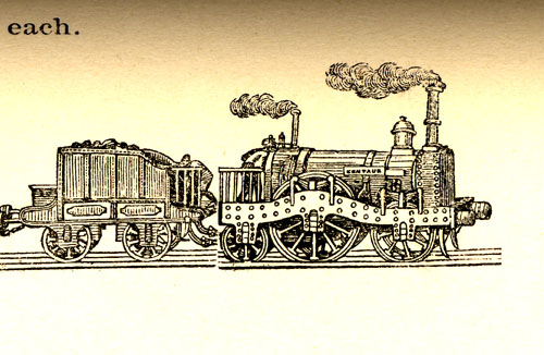 Detail of Thorowgood's locomotive, the Centaur.