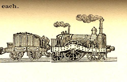 Detail of Thorowgood's locomotive, the Centaur.