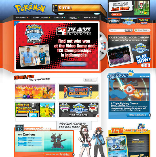 Canadian version of the Pokemon website