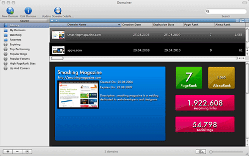 Screenshot Domainer Mac Software
