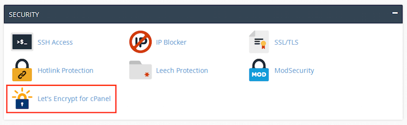 cPanel Security section