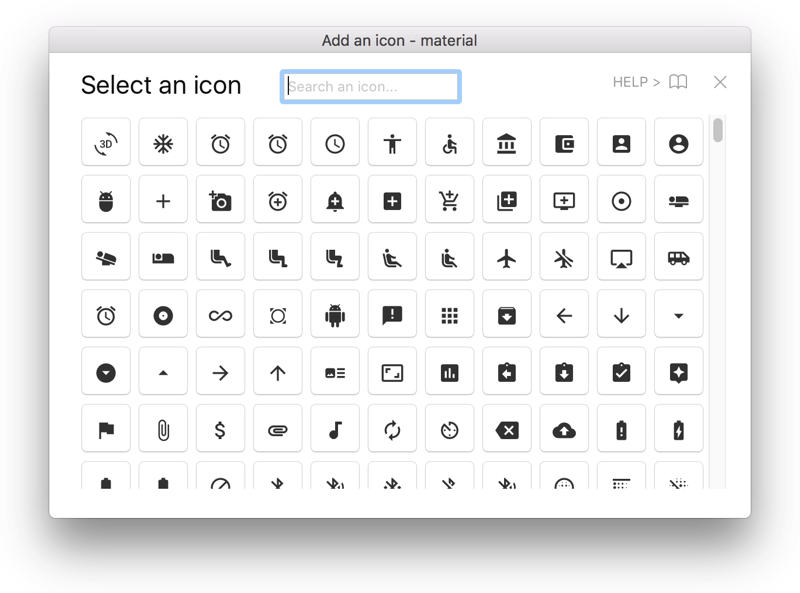 Insert icon fonts via grid
