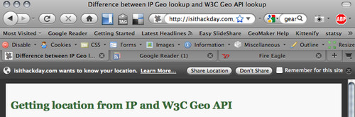 The geolocation API asks the user if they want to share their location