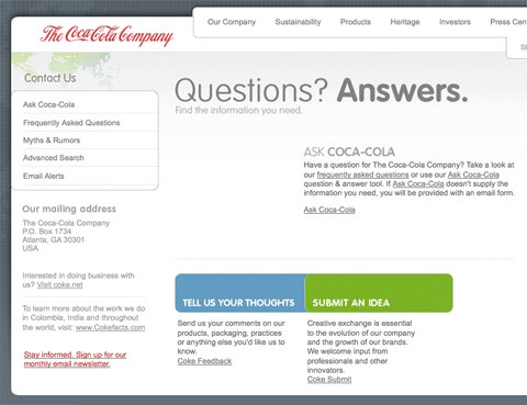 CocaCola contact page