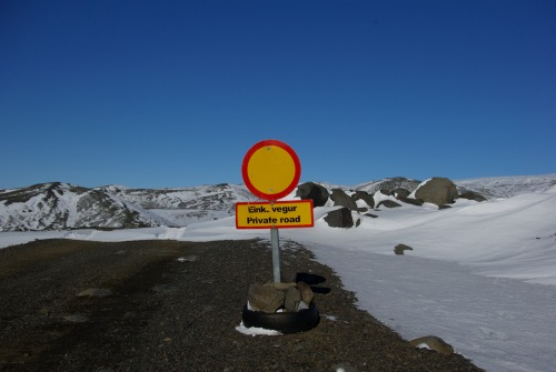 Wayfinding and Typographic Signs - private-road-on-glacier