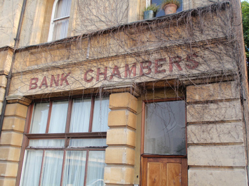 Bank Chambers in Haringey, north London, suggests solidity with its bold square sans serif.