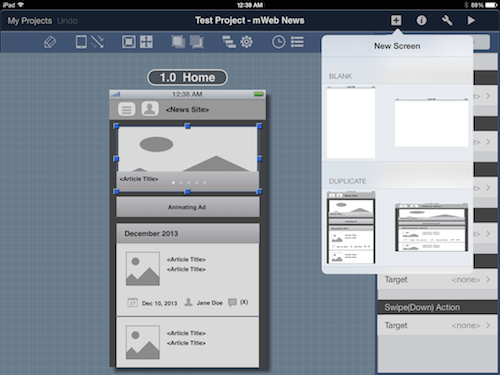 Duplicating an existing screen in landscape orientation rescales the screen widgets as seen in the preview.