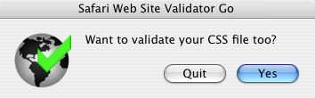 Safari Validator screenshot on asking for CSS