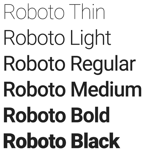 A few variations of the Roboto font