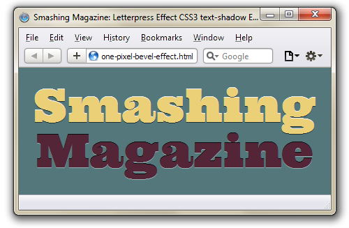 Simulating The Letterpress: From Live Filters In Fireworks To CSS