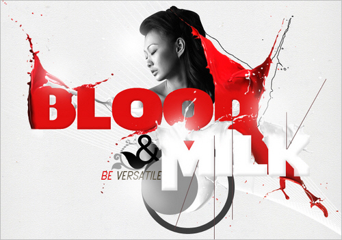 Blood and Milk Typography Poster in Photoshop