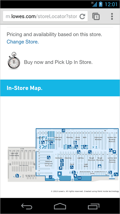 lowe's mobile location pages