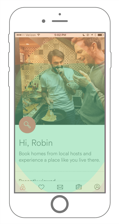 Airbnb mobile app fixed footer menu