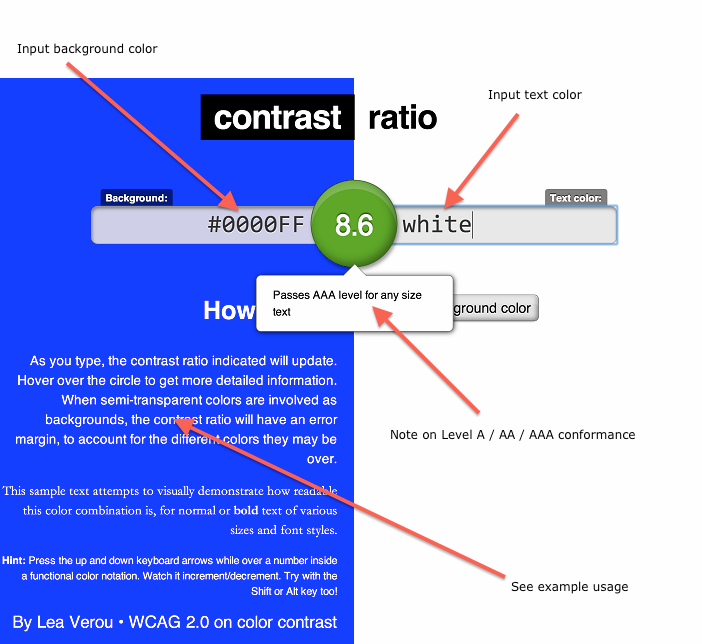 Image showing how Lea Verou's tool can be used to calculate contrast ratio.