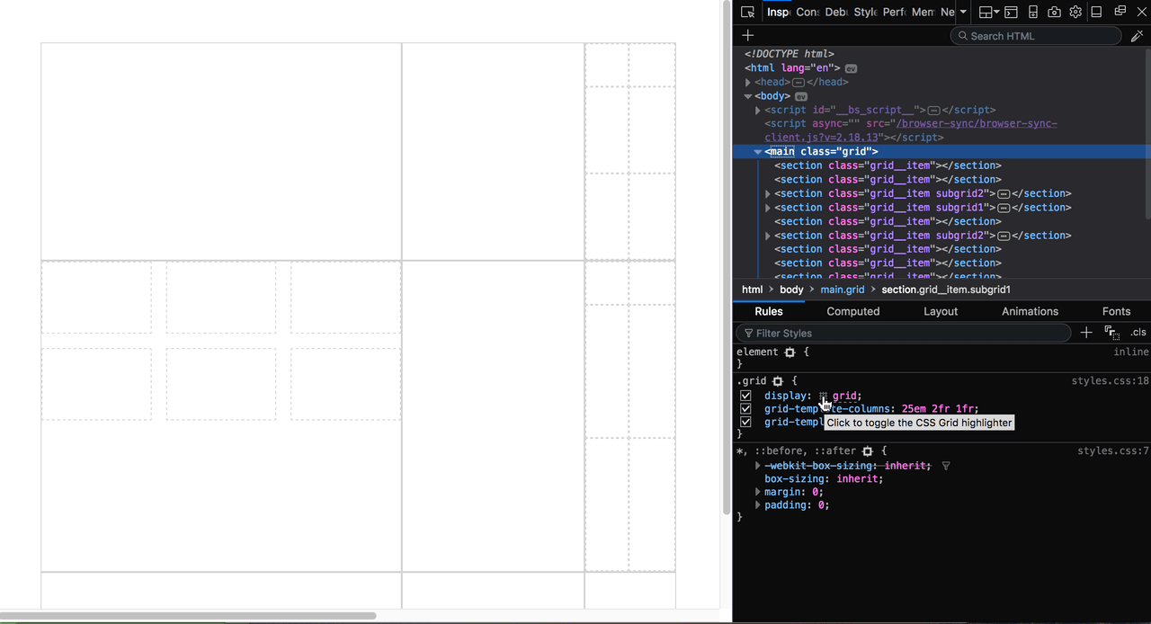 Debugging CSS Grid Layouts With Firefox Grid Inspector