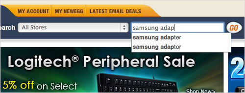 Newegg's search autocomplete suggest misspellings to the user