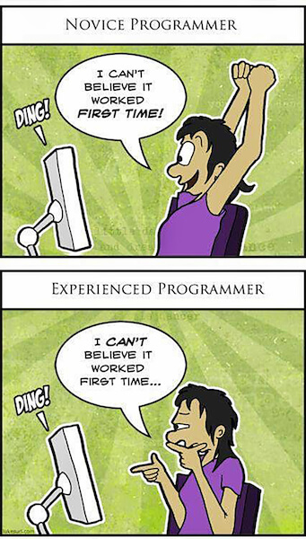 The difference between novice and experienced programmers.