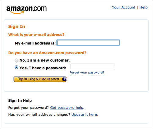Amazon Sign in Form