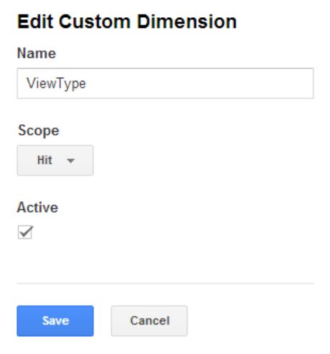 Editing a custom dimension in Google Analytics with scope of Hit