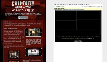 Call of Duty email with images on, and off
