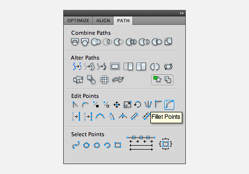Fillet Points in the Path panel