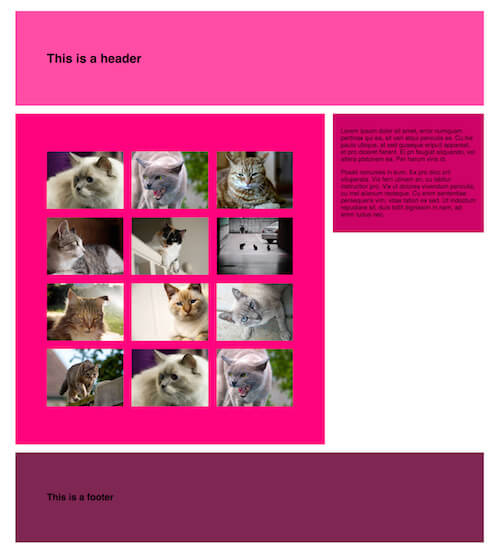 A gallery page layout populated with content