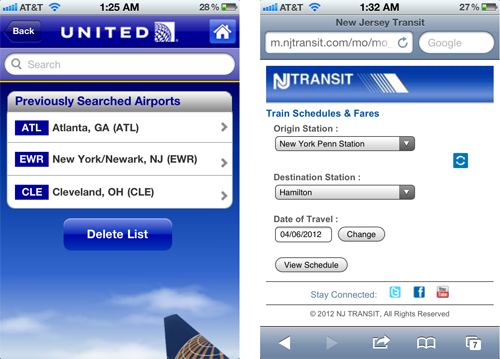 United and NJ Transit use defaults to simplify user input