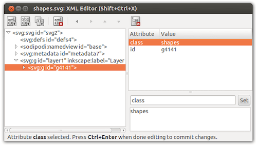 Inkscape dialog to set the shapes class on the group container element