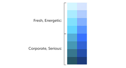 Lighter blues for an energetic feel, darker for a corporate feel.