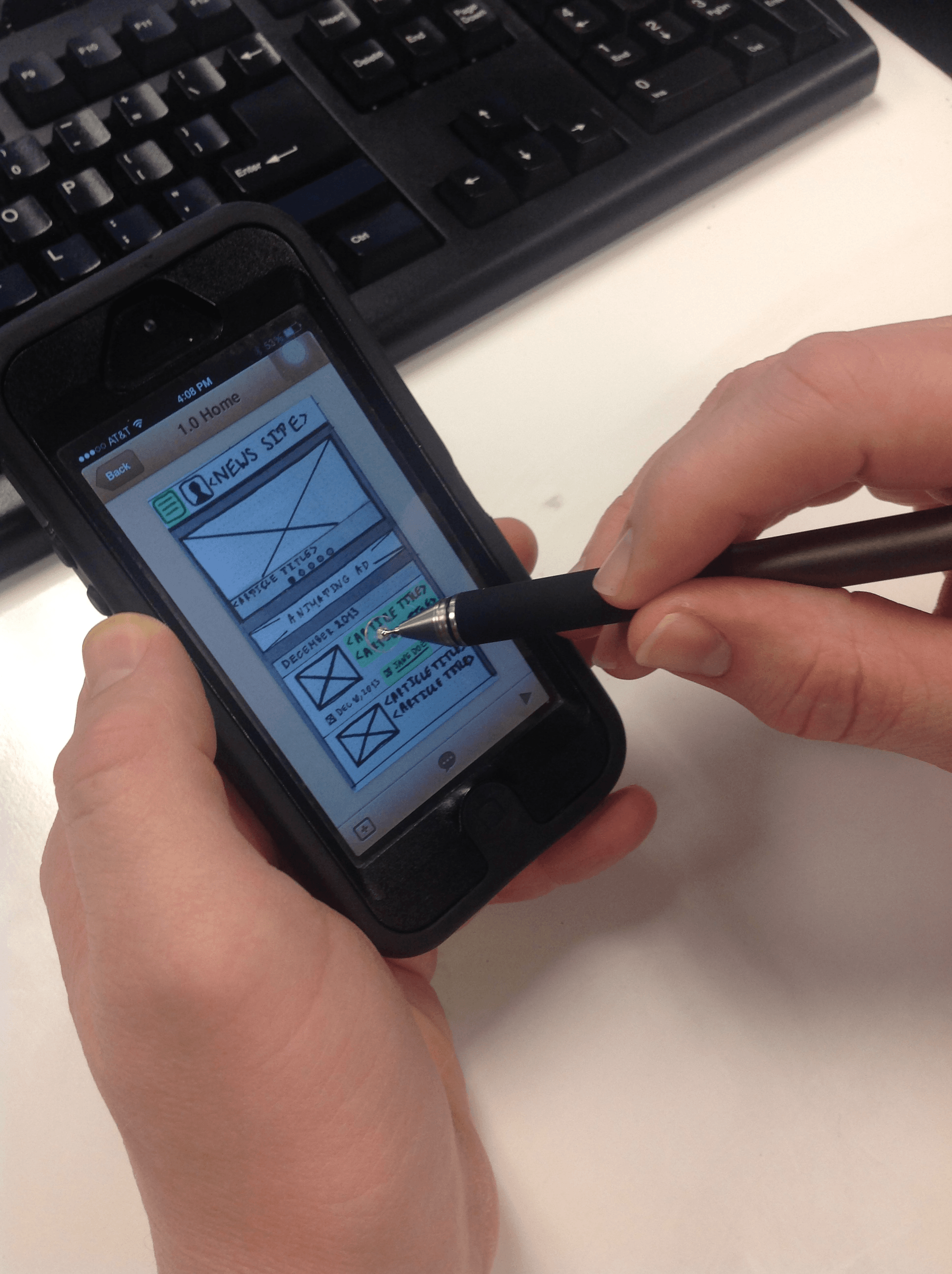 Example of stylus input
