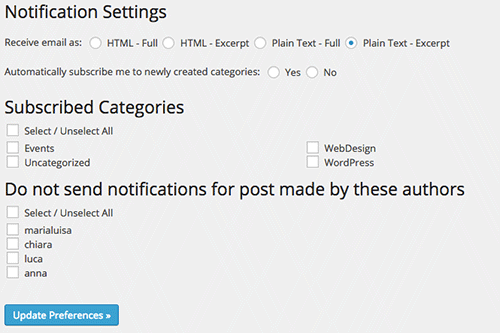 Subscribe 2 settings page