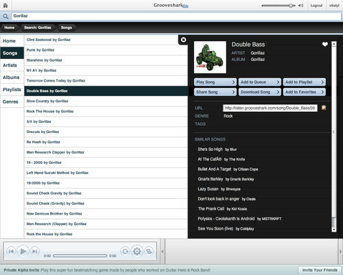 Showcase of Unusual Layouts - Grooveshark Lite
