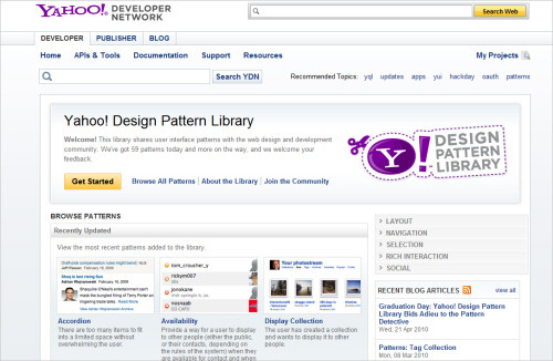 Yahoo's Design Pattern Library