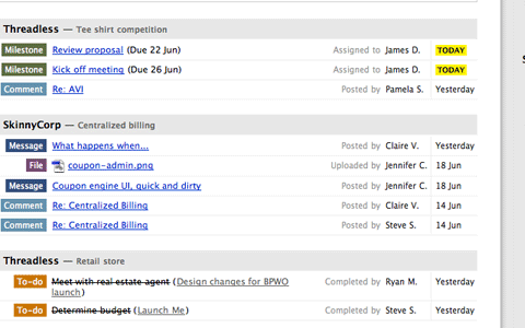 Basecamp Dashboard Screenshot