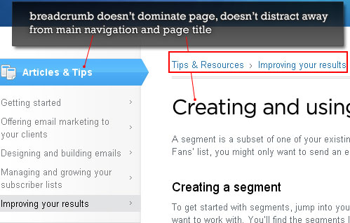 Website Breadcrumb Trail