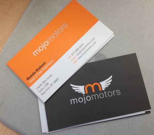 Redesigned Mojo Motors business cards
