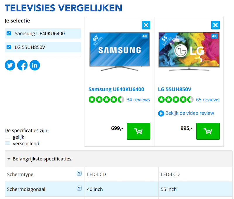 TVStore.nl with a feature comparison table.