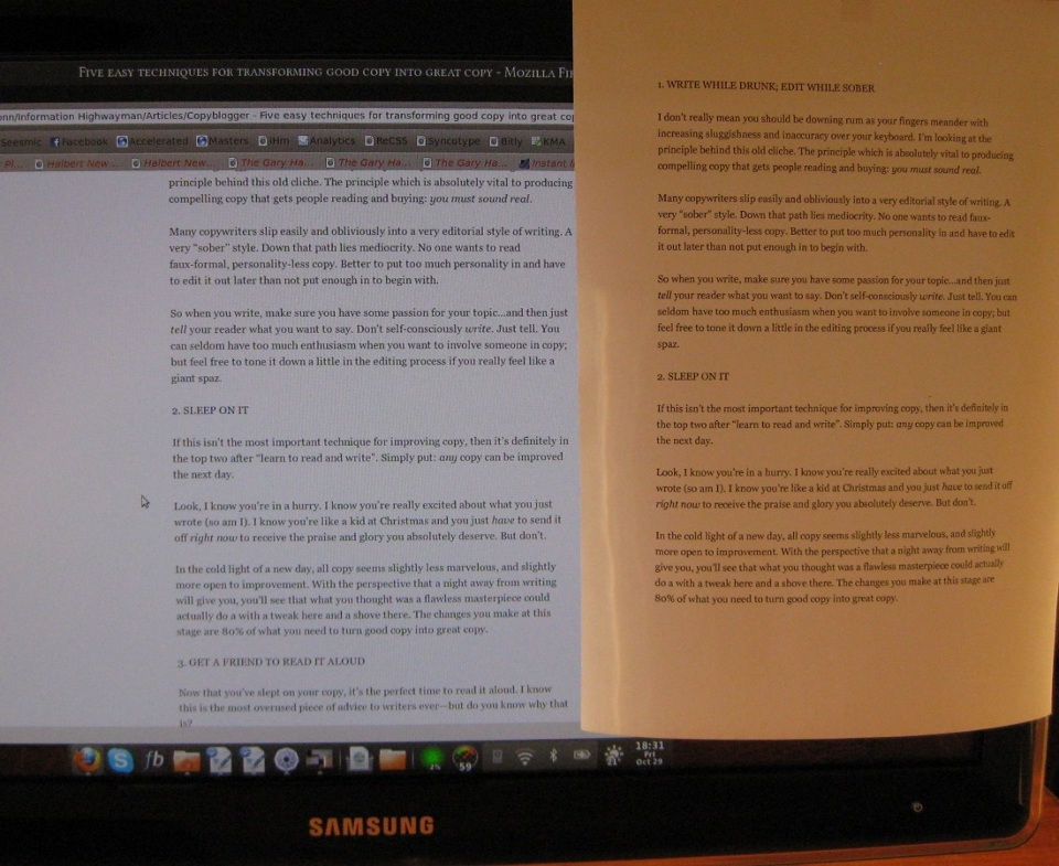 16-pixel text displayed on a 24-inch screen, next to 12-point text printed on paper.