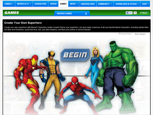 Marvel-homepage in Best Practices For Designing Websites For Kids