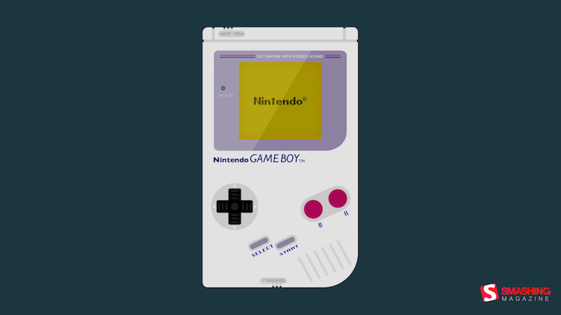 Illustration of a vintage handheld Game Boy.